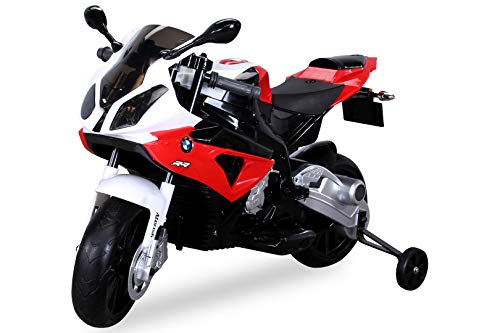 Actionbikes Motors Kinder Elektromotorrad BMW S 1000 RR JT528 - Lizenziert - 70 Watt - Bremsautomatik - Stützräder - Für Kinder ab 3 Jahre (Rot)