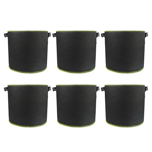 XINdream 6-Pack 1 Gallon Black Grow Bags, Round Garden Plant Bags with Handles, Thickened Felt Plant Fabric Pots for Carrot Onion Vegetables, Indoor and Outdoor