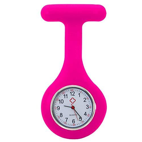 tumundo® Schwestern-Uhr Puls Anstecknadel Kittel Brosche Silikon-Hülle Quarz Damen-Schmuck Krankenschwester Pfleger-Uhr, Modell:pink