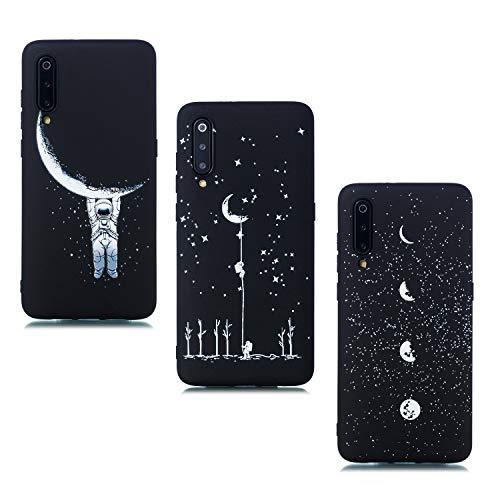ChoosEU kompatibel mit 3 Hüllen Samsung Galaxy A50 2019 Hülle Silikon Muster Schwarz Handyhülle für Mädchen Frau Mann, Dünn Silikonhülle Bumper Stoßfest Hülle Schutzhülle Soft - Mond Astronaut Mond