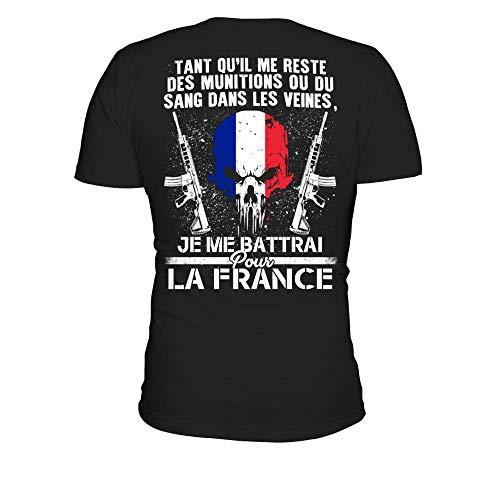 T-Shirt Homme Je ME BATTRAI pour LA France - Noir - XXL
