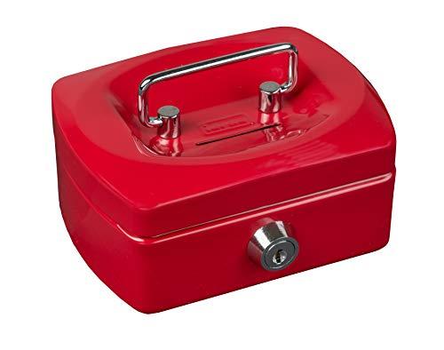 Idena 50031 - Geldkassette Mini, Größe 125 x 95 x 60 mm, Farbe Rot, 1 Stück
