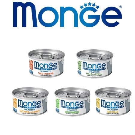 Monge Monoprotein 24 Lattine 80g Cibo Umido Monoproteico per Gatti Grain Free Solo Tacchino Pollo Coniglio Made in Italy Prodotto Italiano 100%
