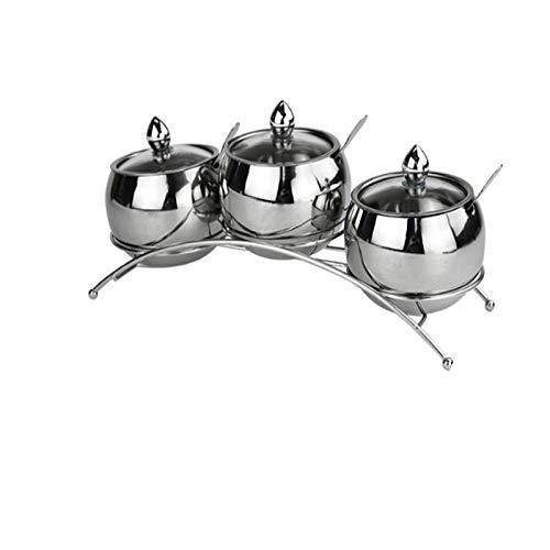 XIANL 304 - Set sale e pepe in acciaio inox con coperchio in vetro visivo, per spezie, bottiglie, utensili da cucina, sale e pepe