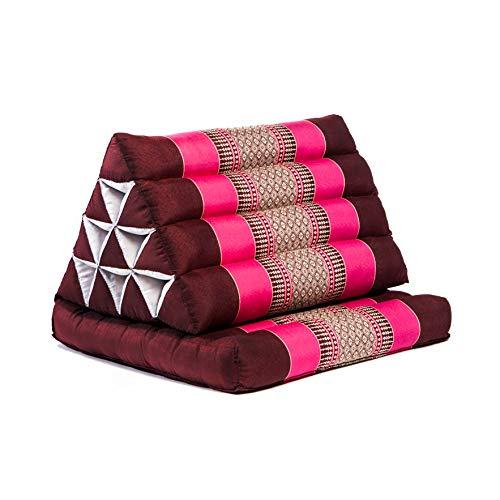 Fairentry Cojín triangular, cojín de asiento, cojín de apoyo, cojín tailandés, cojín de ceiba en tamaño 78 x 50 x 8 cm, en color rosa