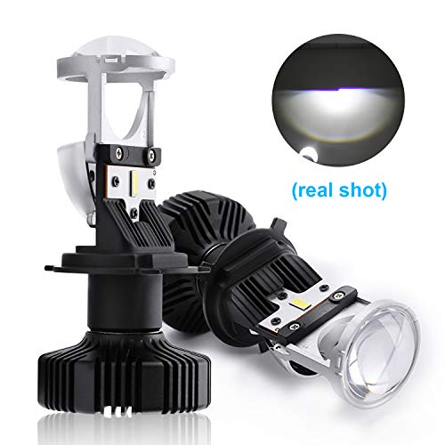 CO LIGHT Pair H4/9003/HB2 LED Headlight Bulbs with Mini Projector Lens Canbus Hi/Lo Beam Solve Astigmatism Problem 10000lumens LED Headlight Conversion Kit for Car Motorcycle Plug Play