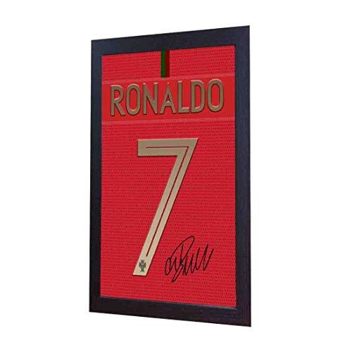 SGH SERVICES - Camiseta de Cristiano Ronaldo con autógrafo de fútbol Enmarcado, 100% algodón, Enmarcado, con autógrafo