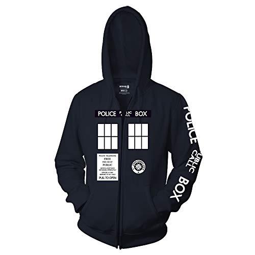 Ripple Junction Doctor Who Adult Unisex Complete Police Box Full Zip Fleece Hoodie SM Navy