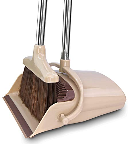 BELLEFORD Broom and Dustpan Set [2020] Stand Up Brush and Dust Pan Combo for Upright Cleaning - Remove Hair with Built-in Wisp Scraper - Kitchen, Outdoor, Hardwood Floor & Garage Tiles Clean Supplies