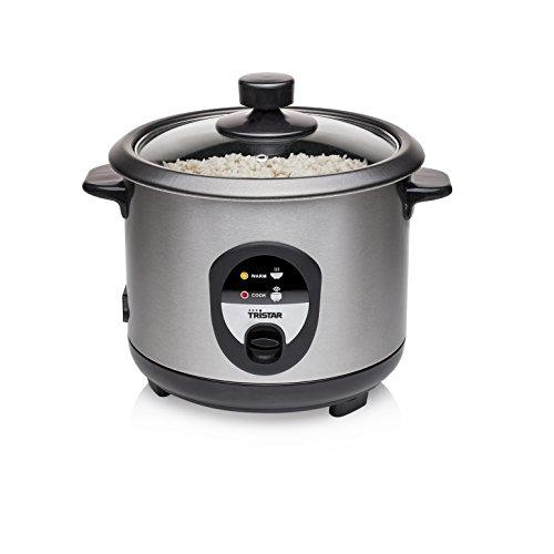 Tristar RK-6126 Reiskocher, 1L, Reis für bis zu 5 Personen ohne Anbrennen, Mit Warmhaltefunktion, 400W, Edelstahl