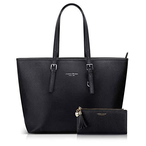 Jocose Moose Damen Handtasche Shopper Schwarz Groß Elegant Damen Tasche für Büro Schule Einkauf, Geschenk mit einer Damen Geldbörse