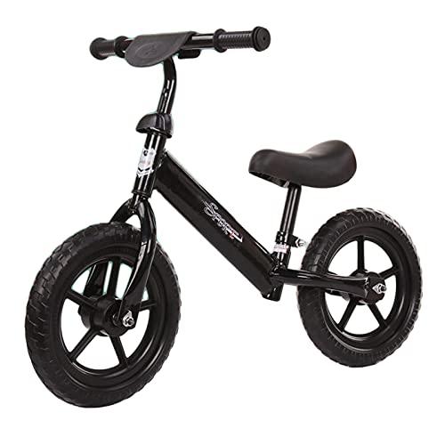 HLEZ Bicicleta Sin Pedales Asiento Ideal para Niños De 2 A 4 Años (Máximo 30 Kg) Correpasillos para Equilibrio Sillín Regulable con Ruedas De Goma EVA,Negro