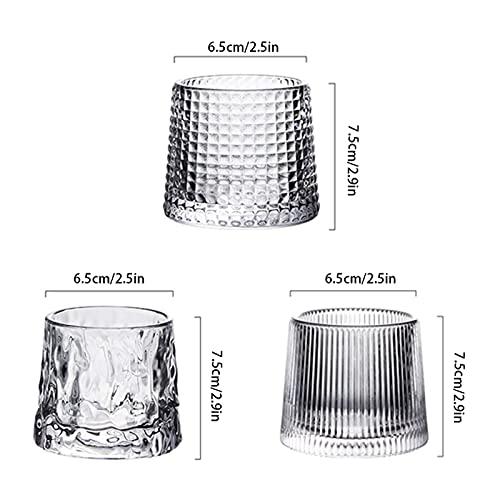 Whisky Glass Personalità creativa rotante senza versamento in vetro acqua set 3 diversi occhiali 5 once ciascuno