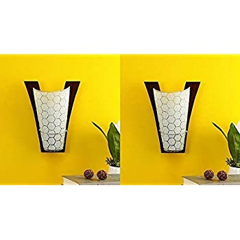 BrightLyts Wood and Glass Uplighter Wall Light (Black) Pack of 2