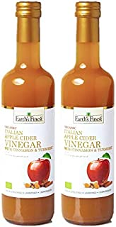 Earth's Finest Organic Apple Cider Vinegar with Cinnamon & Turmeric 500 ml Pack of 2