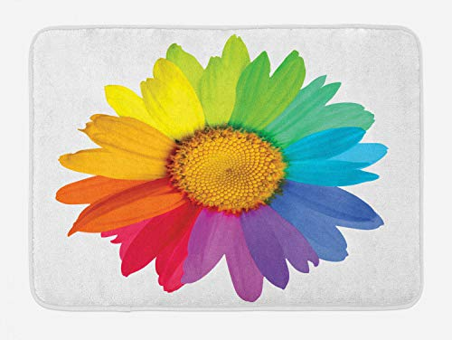 Ambesonne Flower Bath Mat, Rainbow Colored Sunflower or Daisy Spring Inspired Image Hippie Style Modern Design, Plush Bathroom Decor Mat with Non Slip Backing, 29.5