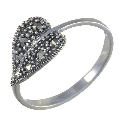 Esse Marcasite Damen-Ringe 925 Sterling-Silber Silber Markasit