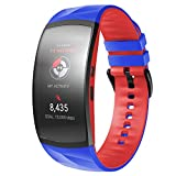 ANCOOL Compatible with Gear Fit2 Pro Bands Soft Silicone Wristbands Sports Straps Replacement for Gear Fit2/ Gear Fit2 Pro Smartwatch (Large, Royal Blue/Red)