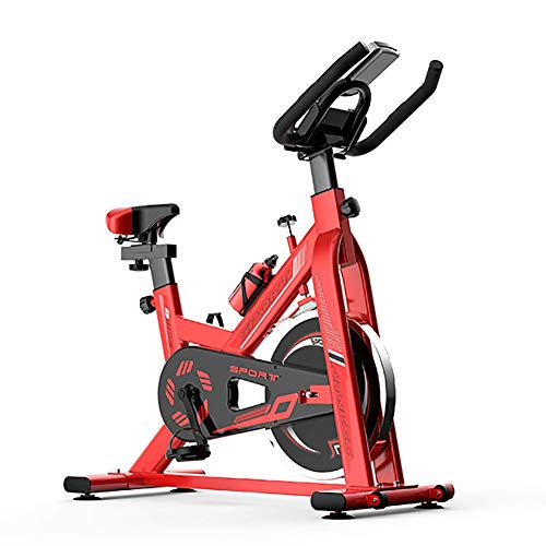 DKDYBR Bicicleta Spinning Ultra Silenciosa, Ajuste Resistencia Engranajes MúLtiples Instrumento Pantalla Digital Led Ruedas MóViles Antideslizantes Bicicleta Ejercicio Pie, Bicicleta DoméStica,Rojo