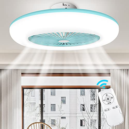 LEDMO 56W Ventilador de Techo con Luz Lámpara LED Ventilador Invisible Plafon Control Remoto con Mando a Distancia Luz Regulable Luz Fría/Neutra/Cálida Luces Regulable