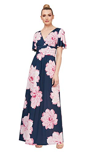 S.L. Fashions Women's Plus Size Short Sleeve Ruched Waist Long Maxi Dress, Navy Floral, 18W (Apparel)