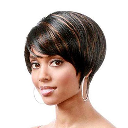 DUTISON Wig for Women, Short Bob Wig Natural Brown Wigs, Heat Resistant Synthetic Wig with Bangs (A)