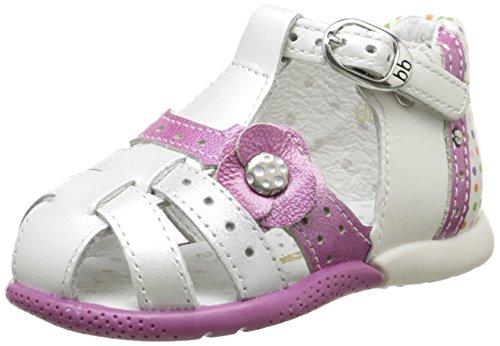 babybotte Baby-Mädchen Grillon Sandalen, Weiß 009, Weiß mit mehrfarbigen Punkten, 21 EU