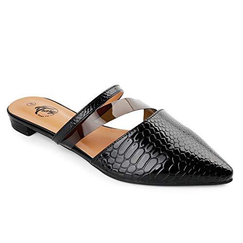 Trary Damen-Slipper mit spitzem Zehenbereich, rückenfrei, flach, mit transparentem PVC-Riemen, Schwarz (schwarz), 37 EU