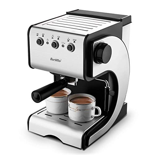 Espresso Coffee Machine With 15 Bar High-pressure System & Milk Frother Wand, Coffee Brewer for Latte and Mocha(Back/Stainess Stee),1000W