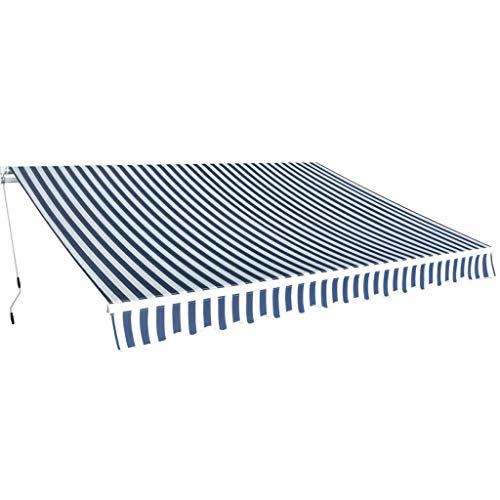 vidaXL Gelenkarmmarkise 350cm Blau/Weiß Markise Sonnenschutz Terrasse Balkon
