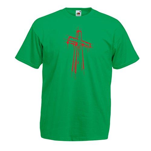 lepni.me Camisetas Hombre angustiada Cruz Santa - Ideas de Regalos religiosos. Ropa de Religión Cristiana, Resurrección de Jesús (Medium Verde Multicolor)