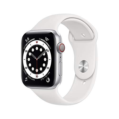AppleWatch Series6 (GPS+ Cellular, 44mm) Aluminiumgehäuse Silber, Sportarmband Weiß