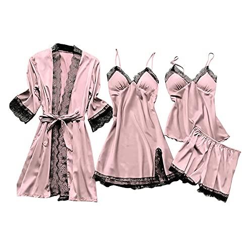 MAWOLY Pigiama Donna Sexy Biancheria Intima Pizzo di Seta Abito Robe Camicia da Notte Kimono Sexy Lingerie Pigiama—Set da 4 Pezzi