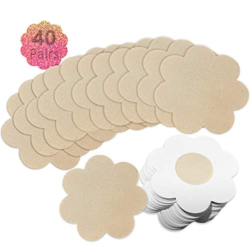 40 Pairs Nipple Breast Covers, Sexy Breast Pasties Adhesive Bra Disposable Beige