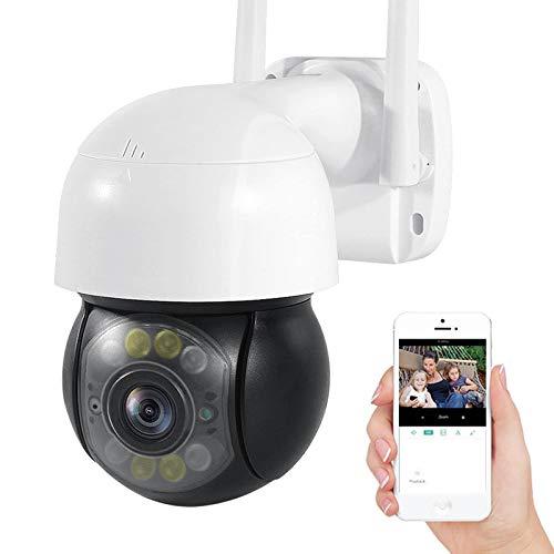 Cámara de vigilancia IP exteriores,Cámara de seguridad WiFi,1080P HD PTZ CCTV Cámara,visión nocturna,detección de movimiento,alarma,audio de 2 canales,Onvif,IP66 impermeable (Cámara+tarjeta TF de 32G)