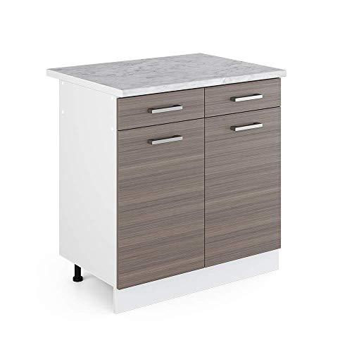 Vicco Küchenschrank R-Line Hängeschrank Unterschrank Küchenzeile Küchenunterschrank Arbeitsplatte, Möbel verfügbar in anthrazit und weiß (edelgrau mit Arbeitsplatte, Schubunterschrank 80 cm)