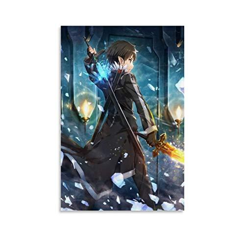 WETUO Anime-Poster, Sword Art Online, Doppelschwerter, Leinwandkunst, Poster und Wandkunst, Bild, moderne Familie,...