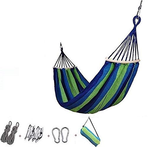 NMDD Hammock, 200x80 CM Large Outdoor Camping Hammock, 300KG Load, Lightweight, Breathable, Striped-Blue green_200 * 80cm