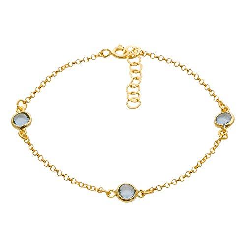 Córdoba Jewels   Pulsera en Plata de Ley 925 bañada en Oro con Piedra semipreciosa con diseño Trio Dolce Aguamarina Gold