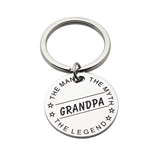 Papa The Man The Myth The Legend Stainless Steel Keychain Gift for Dad Grandpa Uncle Perfect Present for Fathers Day (Grandpa)