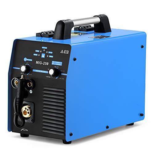 MIG 250 MIG/MMA Schutzgas Schweißgerät, 250 Ampere Inverter Technik f. Schweißen mit/ohne Gas Fülldraht und Elektroden, 230V IGBT E-Hand DC Inverter, Multifunktion Schweißgerät