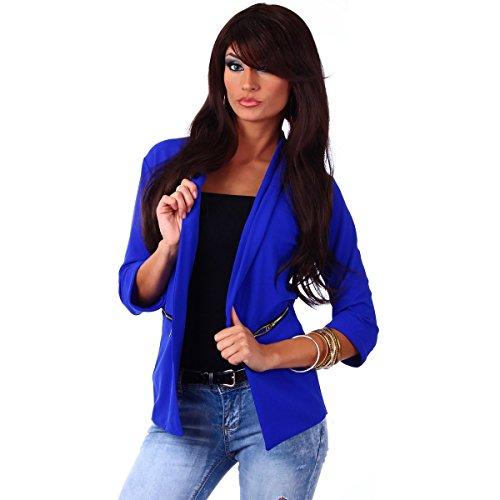 Fashion4Young 10744 Damen Kurzjacke Blazer Jäckchen Jacke knopflos mit Reverse Gr.36/38 (S/M=36/38, Royalblau)