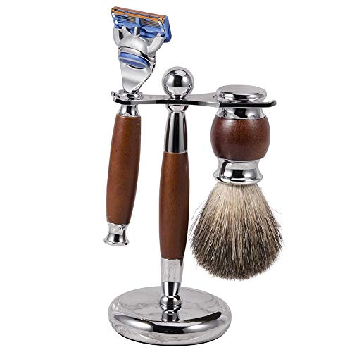 WOCTP Edge Safety Razor Holz Herren Rasierset Mit Rasiermesser Dachs Haarbürste Und Holzständer Perfektes Weihnachtsgeschenkset Für Männer