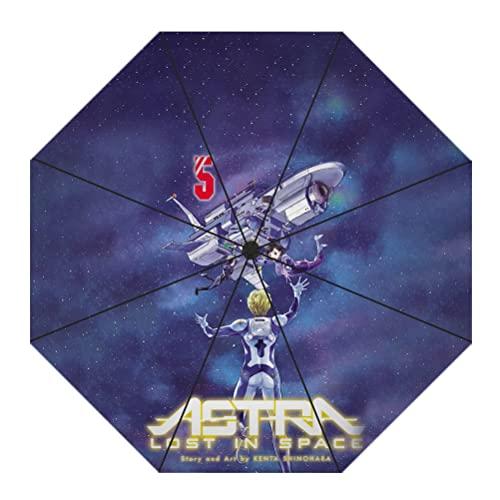 Astra Lost IN Space Encantador Plegable 3D Impresión de Dibujos Animados Protección Paraguas Sol Parasol Paraguas Auto Abierto Paraguas Unisex Mujeres y Hombres impresión Bonita Paraguas