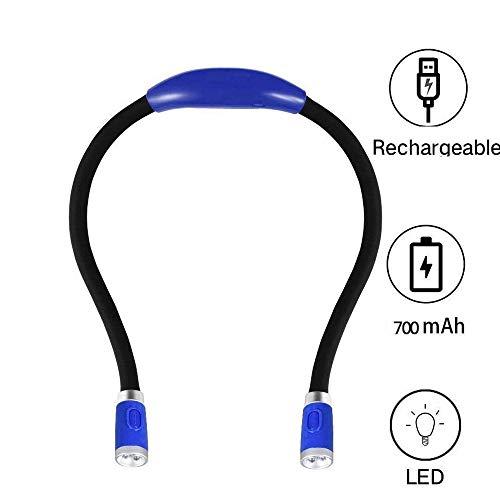 MHUI LED Abrazo de Luz LED Recargable Cuello Luz del Libro de La Lámpara de Cuello Flexible para Leer En La Cama O Coche con Brillo Ajustable Ideal para Bookworms Kids Crafts Knitting