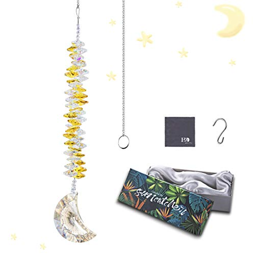 H&D HYALINE & DORA Kristall Regenbogen Sonnenfänger Glas Mond Anhänger hängen gelbe Kaskade Fenster Ornament