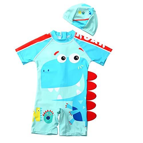 Fenverk Baby- / Kleinkinder-Badebekleidung 2er Set,Junge EIN stück Kurzärmel-Kleidung Badeanzug,Kinder Jungen Bademode Einteiler Schützend Schwimmanzug mit Sonnenhut(B Hellblau,5-6 Jahre)