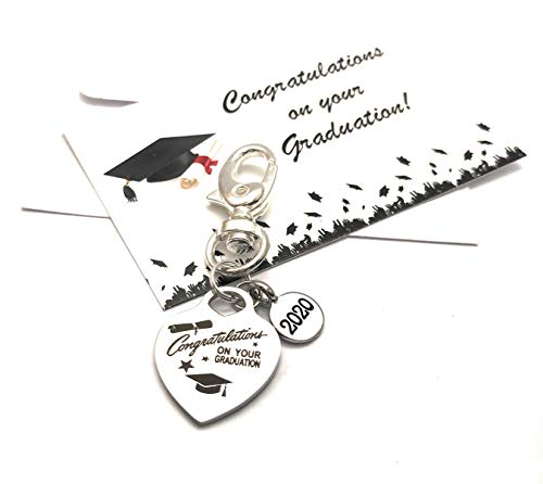 Congratulations On Your Graduation 2020 Keyring with Organza Gift Bag and Graduation Gift Card
