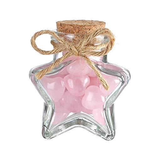 CrystalTears Mini botellas de deseos de 50 ml-80 ml, de corcho vacío, con corazón de cuarzo rosa, decoración (forma de estrella transparente con corazón de cuarzo rosa)