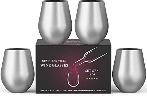 Stainless Steel Wine Glasses Set of 4, 18 oz | Stemless metal wine glasses 4 pack | Unbreakable,...